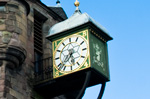 An old clock on the Royal Mile in Edinburgh